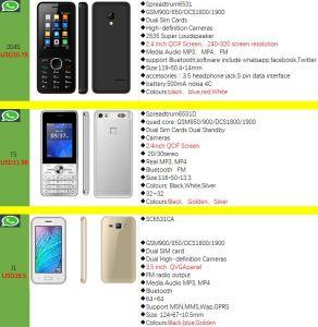OEM fábrica celular teléfono móvil GSM con Whatsapp Facebook Twitter
