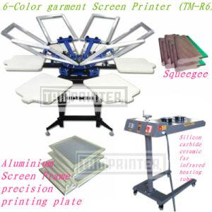 Stampatrice rotativa della matrice per serigrafia del panno manuale di TM-R6 6-Color
