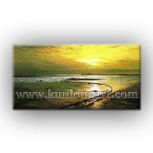 De Kunst van de Muur van het Olieverfschilderij van het Canvas van het Zeegezicht van de zonsondergang voor het Decor van het Huis (klse-002)