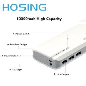 3 puertos USB 10000mAh Banco energía duradera para el Samsung Huawei