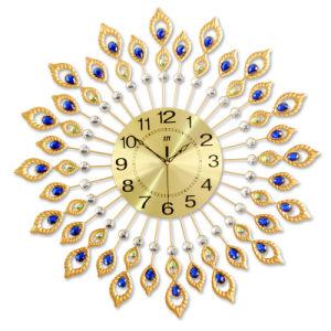 Pavo Real de lujo Hermoso reloj de pared Reloj de pared única de metal