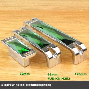 4  silbernes Cabinet Bar Knobs mit Green Crystal Mirror 96mm