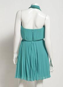 El Diseñador de señoras la longitud de la rodilla Chiffon cabestro vestido de pliegue