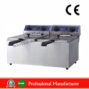 10+10LTR Double Deep Flat Chicken Electric Fryer für Oberseite-Rated (WF-102)