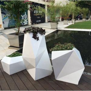 Fo325装飾のための現代セットのガラス繊維の植木鉢