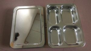 Plateau d'aliments de préparation rapide d'acier inoxydable/plaque de nourriture avec le couvercle