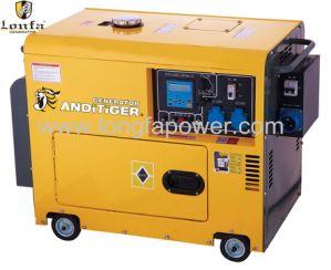 Бесшумный тип 5Квт 5000W однофазный дизельный генератор
