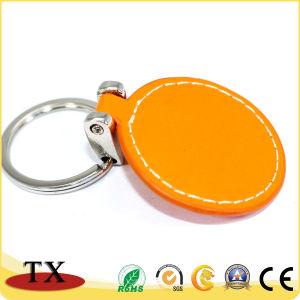 Runder orange lederner Schlüsselhalter fördernder PU-lederner Schlüsselring