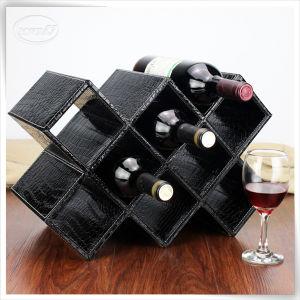 PU personalizado cajas de almacenamiento de cuero Negro Caja de vino