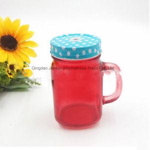 ハンドルが付いている単一の着色されたガラス石大工の込み合いの瓶