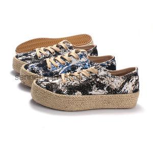 Dame à lacets de chaussures en toile avec corde de chanvre Totom