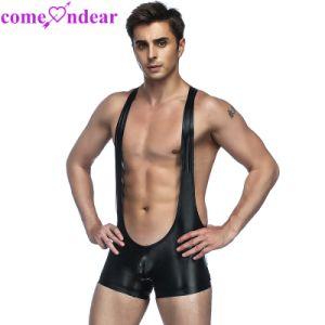 Wrestling Bodysuit cuero erótico Sexy lencería de látex Mens