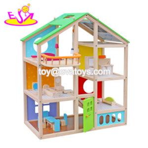 Nouvelle arrivée grande maison de poupées en bois miniature pour les enfants W06A281