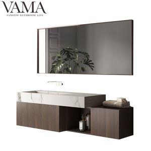Vama pendaison de 60 pouces de placage de bois Salle de bains moderne avec une surface solide du bassin du Cabinet LB-004