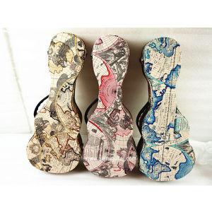 Carte du monde Aiersi Housse en cuir de Pattern Ukulele mallette rigide