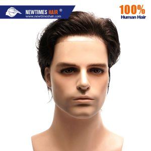 Stock de India Natural de los hombres Toupee cabello humano.
