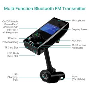 Transmisor FM Bluetooth manos libres inalámbrico Adaptador Radio Kit para coche con dos puertos USB y pantalla de 1.4 Aguantable Aux.