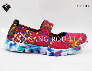 Tejido de la mujer zapatillas zapatos con suela blanda