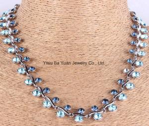 La moda collar de metal Cristal de zafiro y Aquamirine Color