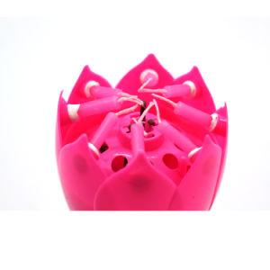 Drehendes Großhandelsbestes, das Blumen-Feuerwerk musikalische glückliche Birhtday Kerze mit doppelten Schichten verkauft