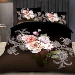 4 pedaço roupa de cama 100% poliéster Flower impressão 3D Edredão Conjunto da Tampa