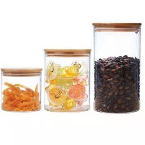 Commerce de gros 750ml 1200ml 1600ml bocal en verre / couvercle en verre borosilicaté de bambou en pots de verre des conteneurs