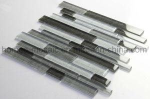 Ver quadro de jacto de tinta de tecido cinzento claro combinação linear de mosaicos de vidro