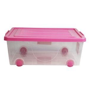 Resistente al agua personalizada 37L de plástico con ruedas Caja de almacenamiento con tapa