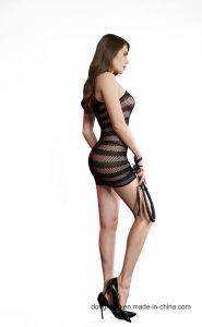 Alta de la mujer la malla del agujero de la falda de rayas Bodysuit Lingerie