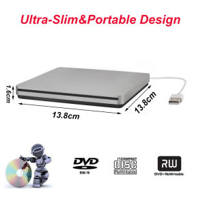 DVD externo USB quemador de la unidad de CD Player para laptop/PC/Mac (gris)
