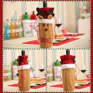 クリスマスの装飾のスノーマンのサンタクロース様式のオオシカのワイン・ボトル袋