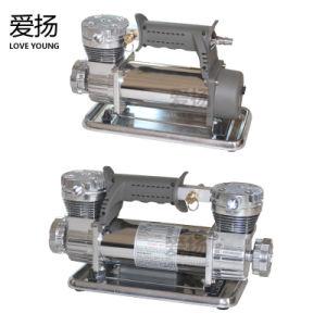 DC 12Vの二重シリンダー電気携帯用空気圧縮機は車のためのポンプを膨脹させる
