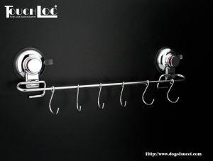 Los ganchos de la barra de toalla de ducha colgador de Rack de soporte para Windows baño cocina con 6 ganchos