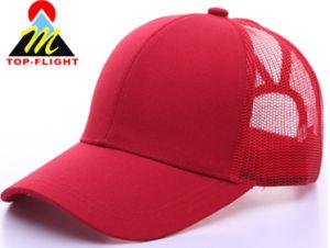 Fabricant panneau personnalisé tissu mode Femmes 6 Casquette de baseball broderie 3D polyester Visor chapeau avec queue de cheval trou hat&Cap