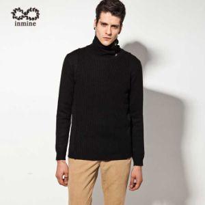 Шерсть смешанных кнопка Turtleneck трикотажные Pullover мужской свитер