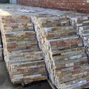 La Chine Jaune empilées en ardoise naturelle de panneaux muraux extérieurs (SMC-SCP437)
