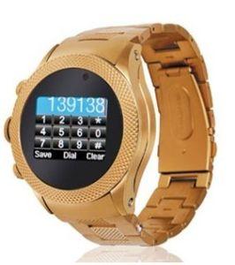 LuxuxgoldEdelstahl-Uhr-Telefon mit Screen-Kamera-Handschrift