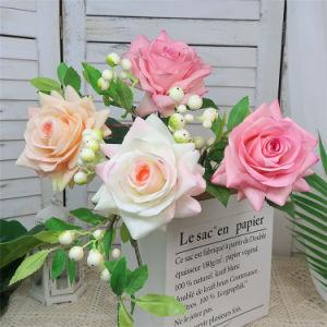 Verdadero toque artificial Flores rosas con recubrimiento de látex decorativo de la boda falsa Flores