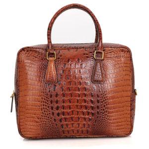 2017 de cocodrilo marrón de cuero de grano bolsa para portátil maletín