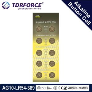 батарея клетки кнопки Mercury 1.5V AG10/Lr1130 0.00% свободно алкалическая для сбывания