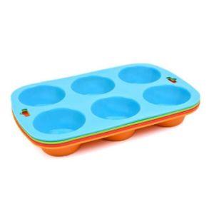 Silicone de alta qualidade Non-Stick 6 Rodada Cup Copa da bandeja de muffin Molde de bolo