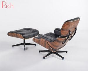 Mobiliário de design moderno de couro de réplica Walnut Charles Eames Espreguiçadeira