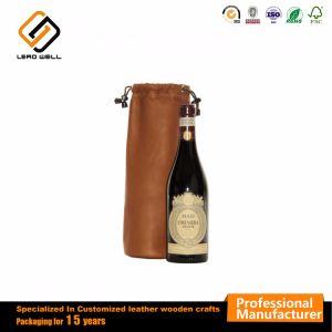 Supporto di bottiglia del vino del cuoio di corsa della maniglia