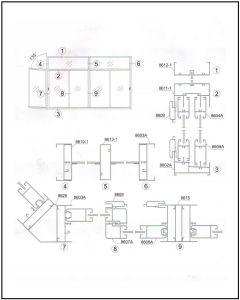 Foshan Cayoe Casement 6063 T5 de construcción de Aluminio Perfiles de Ventana de metal