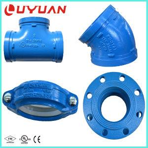 Ranurado de hierro dúctil igual t con aprobación UL para canalización de agua