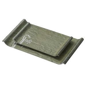 Dîner de la vaisselle Ware Surface mate vert bambou coffre en plastique durable de la mélamine Rectangle distinctif/plaque du plateau rectangulaire