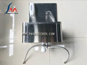 Aço inoxidável Handless joelho operado dissipador comercial, Joelho Pressione Bacia Handwash