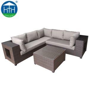 Pátio acolhedor mobiliário de exterior amplo sofá em vime Vime transversal do apoio de braço com Caixa de arrumação
