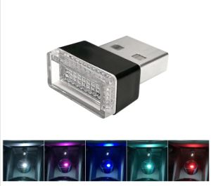 Ventas de coches caliente atmósfera LED USB lámpara decorativa de las luces LED de color