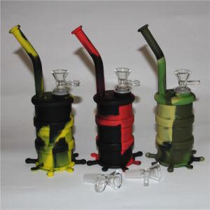 Comercio al por mayor de silicona de Malezas personalizado tabaco Pipa de Agua Aceite de Silicona DAB Rig con recipiente de vidrio para fumar Plataformas de barril de silicona con tazón de vidrio.
